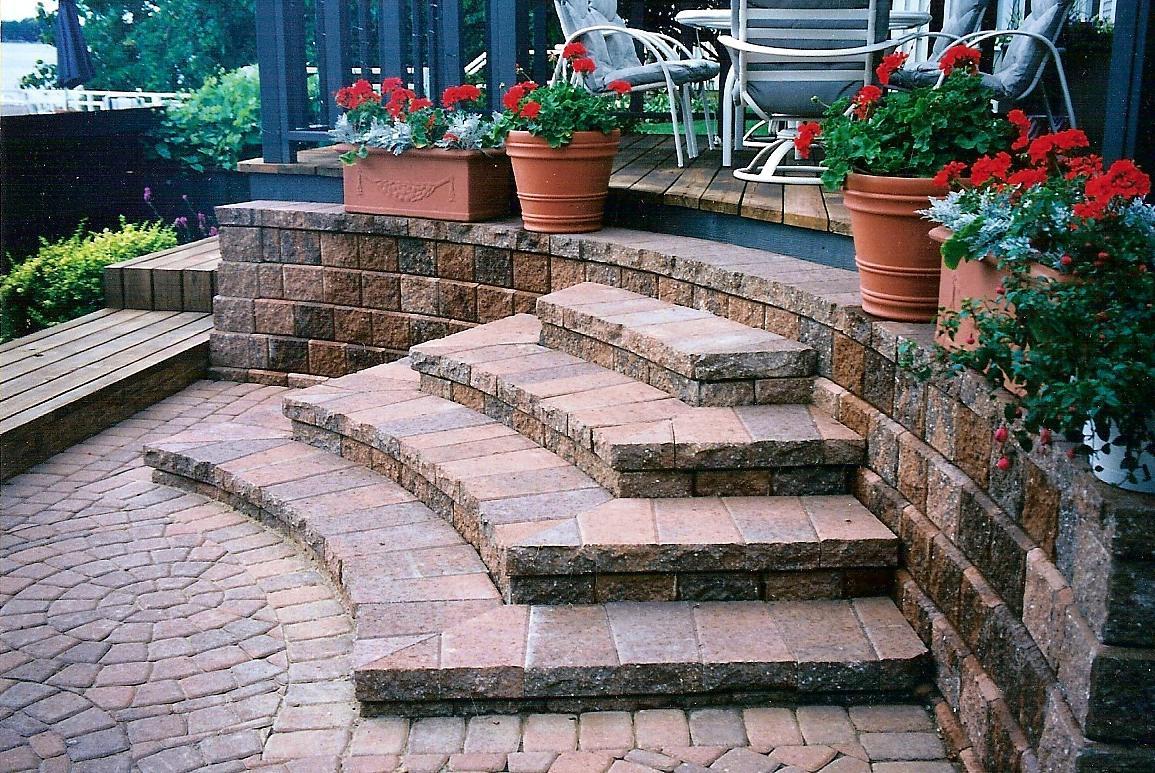paver patio steps ideas - modern patio - Patio Steps Design